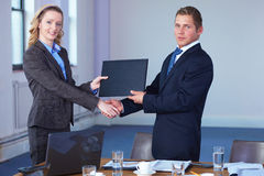 Handshake after contract signing, office shoot Royalty Free Stock Image