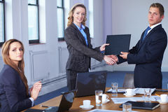Handshake after contract signing, office shot Stock Images