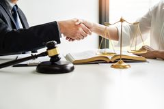 Handshake after cooperation between attorneys lawyer and clients discussing a contract agreement hope of victory over legal. Fighters, Concepts of law, advice stock photos