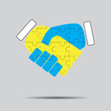 Handshake cooperation puzzle pattern. Teamwork partnership, agreement deal, meeting corporate. Vector art design abstract unusual fashion illustration Royalty Free Stock Photo