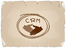 Handshake with CRM or Customer Relationship Management Concepts. Business Concepts, Handshake with CRM or Customer Relationship Management Concepts on Old Royalty Free Stock Images
