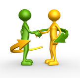 Handshake. 3d people - man, person and arrows - handshake Royalty Free Stock Photos