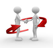 Handshake. 3d people - man, person and arrows - handshake Royalty Free Stock Photography