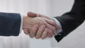 Handshake deal, agreement about business plan, successful negotiation, startup stock video