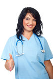 Handshake doctor woman Stock Images