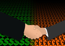 Handshake on dollar and pound Stock Photo