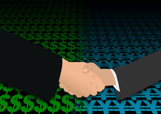 Handshake on dollar and yen Royalty Free Stock Image