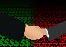 Handshake on dollar and yuan Royalty Free Stock Image