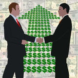 Handshake with dollars arrow Royalty Free Stock Photography