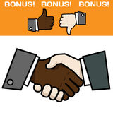 Handshake double color Stock Images