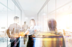 Handshake double exposure. Businesspeople shaking hands in office. Double exposure Royalty Free Stock Photos