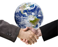 Handshake and The Earth Royalty Free Stock Image