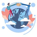 Handshake on earth globe vector illustration. Handshake from different countries and continents of earth globe. Business make deal metaphor in minimalistic flat stock illustration