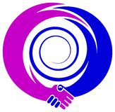 Handshake emblem. Isolated line art handshake emblem design royalty free illustration
