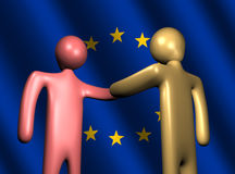 Handshake with EU flag illustration Stock Photos