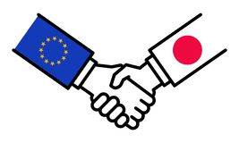 Handshake EU Japan, JEFTA, free trade agreement, business deal, friendship, concept, graphic. Isolated on white background Royalty Free Stock Photo