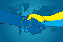 Handshake EU and Ukraine Stock Images