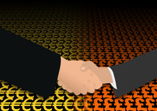 Handshake on euro and pound Royalty Free Stock Photography