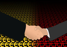Handshake on euro and yuan Royalty Free Stock Image