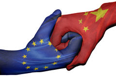 Handshake between European Union and China Royalty Free Stock Photo