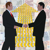 Handshake with Euros arrow Royalty Free Stock Photography