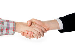 A handshake between a farmer and a businessman. On white background Stock Images