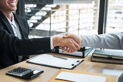Handshake after finishing conversation Businessman sending a resignation letter to employer boss in order to resign dismiss. Contract, changing and resigning royalty free stock photos