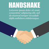 Handshake in a flat design. Two businessman in a suit royalty free illustration
