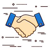 Handshake flat line design icon on the white background -. Illustration Stock Image