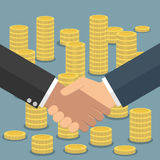 Handshake in flat style coins stacks royalty free illustration