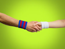 Handshake of  football Stock Image