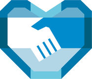 Handshake Forming Heart Shape Retro Stock Photos