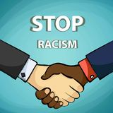 Handshake of friends. Stop racism. Stock . royalty free illustration