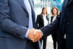Handshake. In front of business people Stock Photo