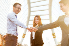 Handshake gesturing of business team connection deal concept bus Royalty Free Stock Photo