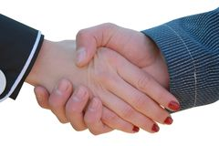 Handshake of the girl and man Royalty Free Stock Photography