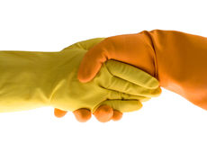 Handshake and gloves. Handshake, gloves and protect, isolated white royalty free stock photography