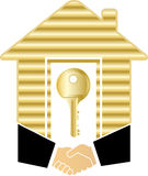 Handshake with gold house and key Royalty Free Stock Photo
