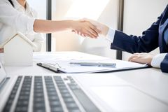 Handshake after good cooperation, Real estate broker residential royalty free stock photo