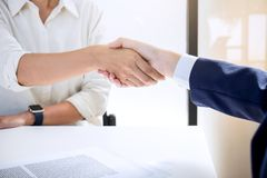 Handshake after good cooperation, Real estate broker residential. Agent shaking hands with customer after good deal agreement house rent listing contract Royalty Free Stock Photos