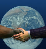 Handshake - Gorilla and Businessman. 3D render of a gorilla and businessman shaking hands. Earth-friendly business practices royalty free illustration
