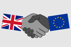 Handshake with Great Britain and EU flag Stock Photography