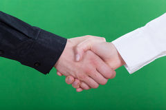Handshake on green background Stock Photo