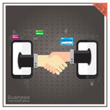 Handshake human mobile set partnership World online Stock Images
