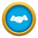 Handshake icon blue vector isolated. On white background for any design royalty free illustration