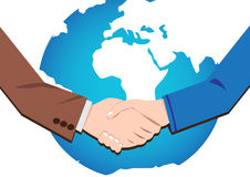 Handshake icon of businessmen worldwide. Vector concept  handshake businessmen deal and partnership in world Stock Images