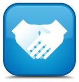 Handshake icon special cyan blue square button Stock Photos