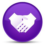 Handshake icon special purple round button Stock Photo