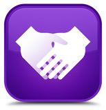 Handshake icon special purple square button Stock Images