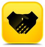 Handshake icon special yellow square button Stock Photo